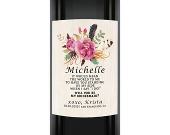 Will You Be My Bridesmaid Wine Label, Will you be my maid of honor, Custom Bridal Proposal Wine Labels, Bridesmaid Wine Label Stickers o1