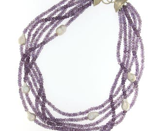 Pink Amethyst and Baroque Pearl Multi-strand Necklace with Sterling Silver Clasp
