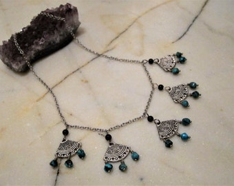 Genuine Turquoise and Onyx Necklace . Chandelier . Dangle . Short Necklace . Graphic Silver Paddles . Adjustable