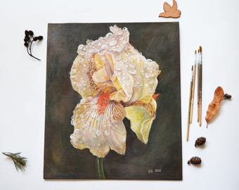 Iris painting| Original painting| Acrylic painting| Flower painting| Painting on canvas| Caramel iris