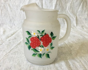 Vintage Frosted Glass Pitcher with Hand Painted Strawberries