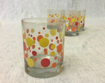 Vintage Orange and Yellow Polka Dot Double Old Fashioned Glasses, Set of 4