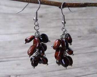 Red Tiger Eye Earrings Tiger Eye Bead Earrings Gemstone Earrings Natural Stone Gemstone Bead Earrings BOHO Drop Earrings ED-026