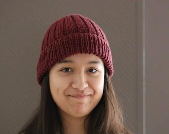 Beanie, Merino Knit Hat, Knitted Beanie, Slouchy Hat, Dark Red Wine Beanie Hat