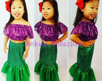 Mermaid Tail Skirt, Fish Scale, Confetti Dot Purple Top,Girls Toddler,Costume,Little Mermaid,Birthday Outfit,Gift,Dress Up- READ DESCRIPTION