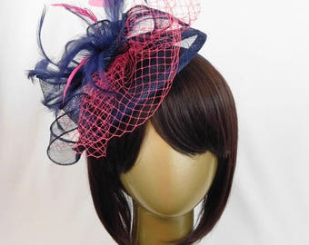 Navy & Fuchsia fascinator, Women's Tea Party Hat, Church Hat, Kentucky Derby Hat, Fancy Hat, Royal Blue Hat, Tea Party Hat, wedding hat