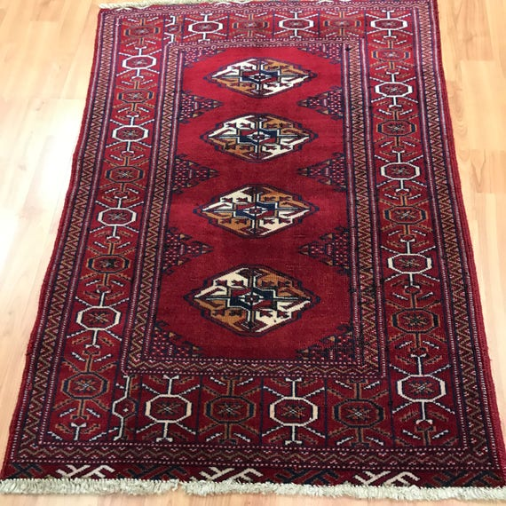 "2'4"" x 3'3"" Persian Turkeman Oriental Rug - 1950s - Hand Made - 100% Wool"