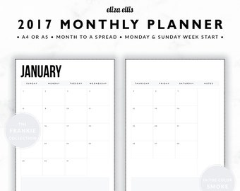 2017 MONTHLY PLANNER / A4 Calendar / 2017 Planner / Planner Inserts / Printable Planner / Calendar / The Frankie Planners in Smoke / 414