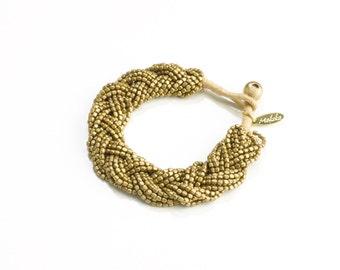 Seed Bead Bracelet - Brass Stackable Bracelet - Boho Wrap Bracelet - Girlfriend Gift Bracelet - Boho Jewelry Ideas -  Rustic Boho Bracelet