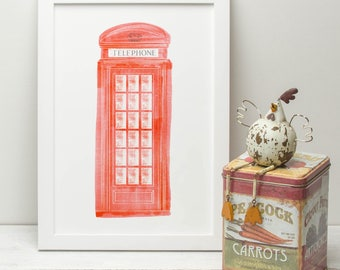 Illustrated Print of Traditional London Phone Box