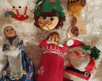 Mouse Santa Elf Dog Granny Lady, Set of 6 Vintage Christmas Holiday Ornaments