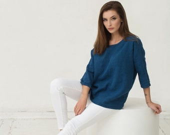 Linen top in navy blue colour. Oversized loose fitted linen shirt. Stonewashed flax tunic.