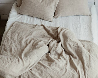 Softened linen duvet cover. Stone washed bedding. Natural linen colour.