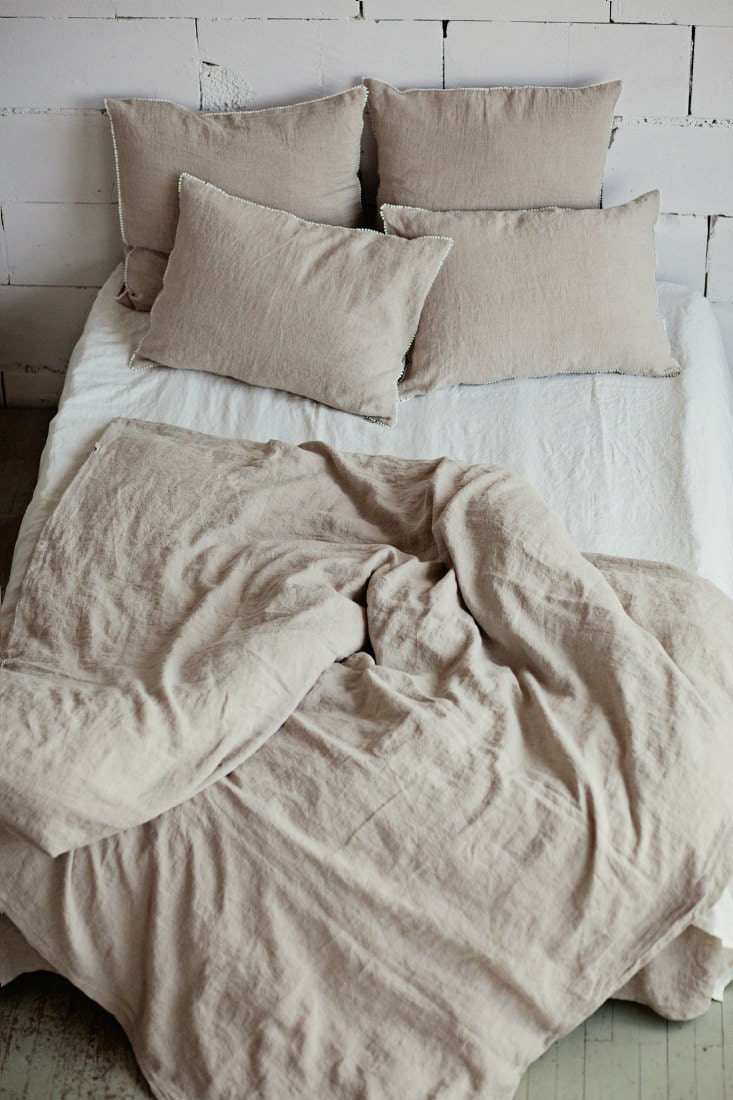 Softened Linen Duvet Cover Stone Washed Bedding Natural