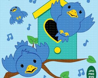 Bluebirds digital clipart set