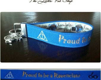 Embroidered Harry Potter Hogwarts Ravenclaw Key Fob/Wristlet with Charms
