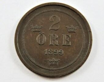 Sweden 1899 2 Ore Coin.