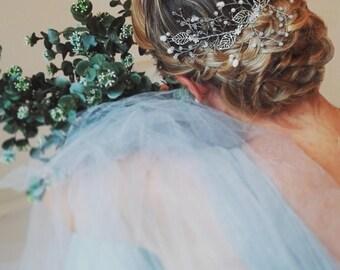 "Wedding ""Matilda comb"", bridal headpiece, hairvine, flower crown, vintage hairstyle, Made in italy"