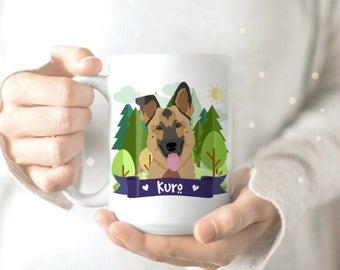 German Shepherd Gift - Dog Mom Mug - Dog Lover Gift - Dog Portrait - Dog Drawing - Cute Coffee Mug - Pet Coffee Mug - Pet Owner Mug
