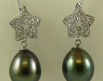 Tahitian Black Pearl Earring 14k White Gold and Diamonds 0.50ct