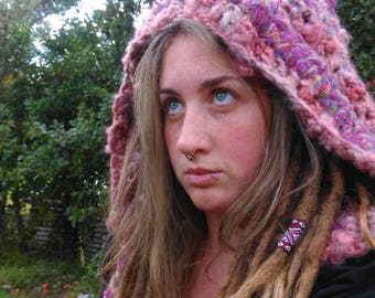 Crocheted Pixie forest hood - Dread hood-dreadlocks-scood-festival-hippy- hand spun hand dyed art yarn wearable art
