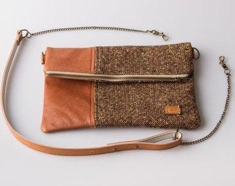fold over bag / folded leather bag/ cross body bag