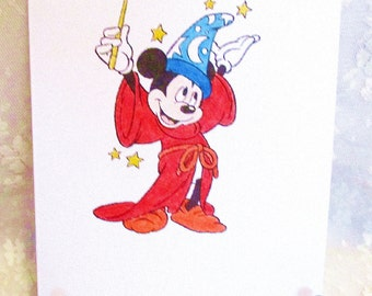 Mickey Mouse Magician Card: Add a Greeting or Leave Blank