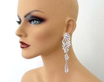 Long Chandelier Bridal Earrings, Long Crystal statement earrings, Wedding earrings, Brides statement earrings, Crystal rhinestone earrings