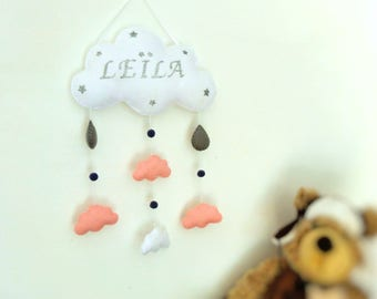 Baby cloud white mobile or wall decoration . Cloud mobile for baby's room .