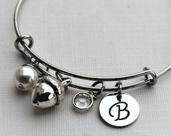 acorn bracelet,  acorn charm bracelet, acorn bangle, acorn jewelry, acorn initial charm bracelet, acorn initial bracelet, acorn theme bangle