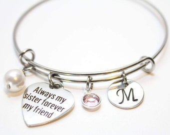 sister bracelet, sister bangle, sister jewelry,  sister initial bracelet,  sister initial jewlery, sister gift, sister bracelet set, sister