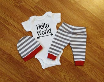 Baby Boy Going Home Hello World Outfit boy shower gift bodysuit pants hat red gray white stripe arrow pregnancy newborn preemie 0-3mos