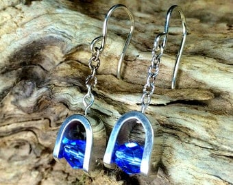 Sterling and Swarovski® dangle Earrings,  Sapphire blue, Silver