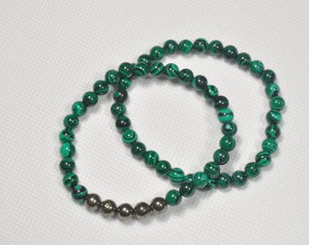 Stackable Malachite Pyrite Energy Healing Natural Crystal Bracelet