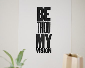 Be Thou My Vision   Wood Block   Letterpress   Large Relief Print   Printmaking