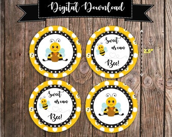 Bumblebee Cupcake Toppers - Bee Theme Baby Shower Decoration - Sweet as can Bee Cupcake Topper - Gender Neutral Baby Shower Decor Digital