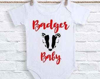 Wisconsin Onesies, Wisconsin Badgers Clothes, Basketball Onesies, Wisconsin Gifts, Badger Football, Wisconsin Badger Baby Onesie, Badger