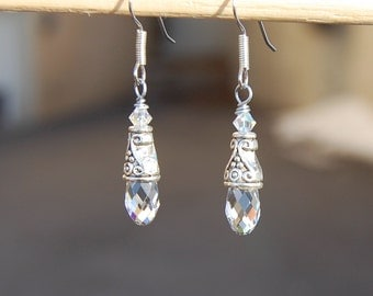 Swarovski Crystal Briolette Earrings, Simple Silver Everyday Dangle Earings, Victorian Style Jewelry, Gift for her, Wife, Mothers day gift