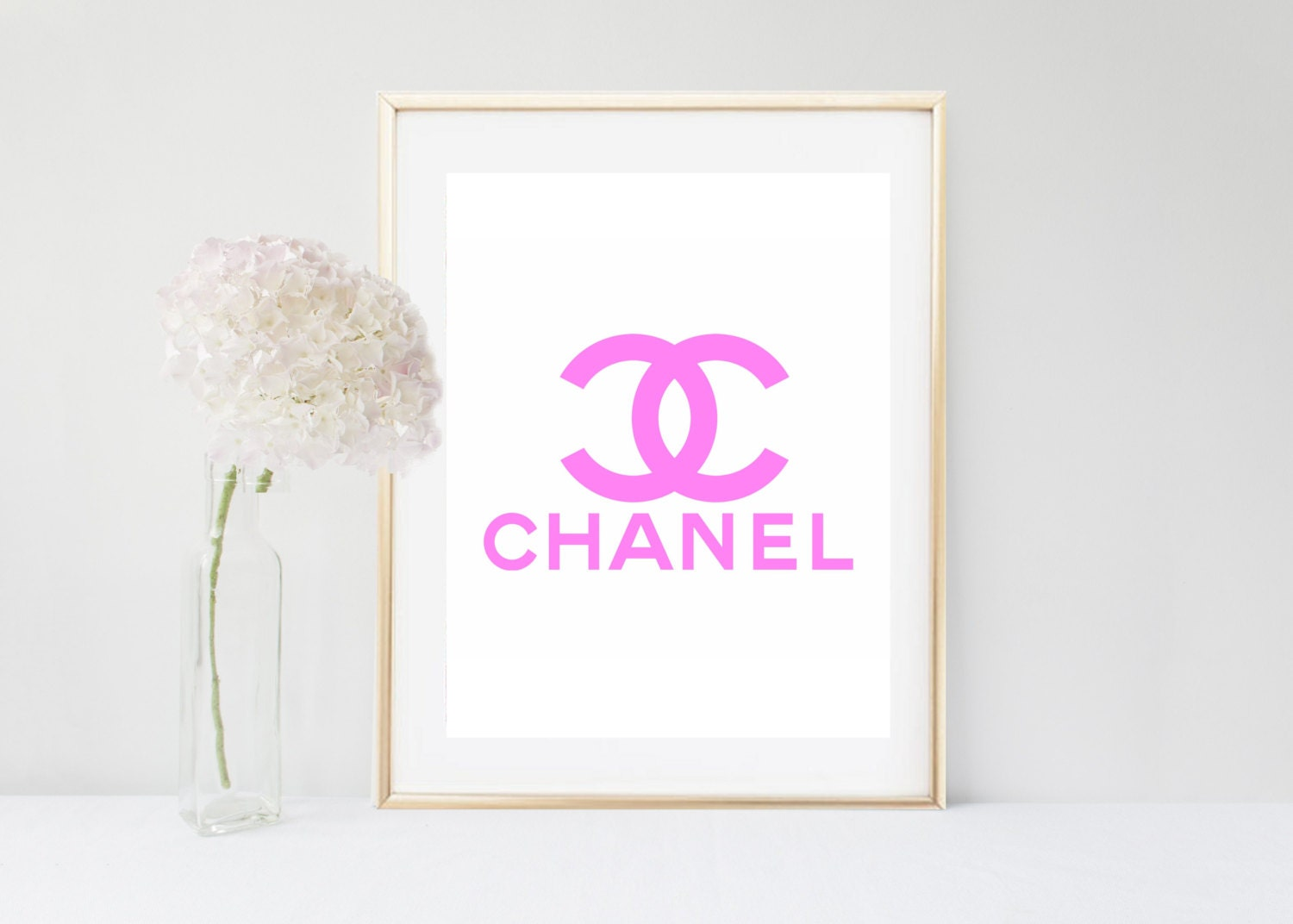Chanel wall art pink chanel logo printable art coco chanel for Pink wall art