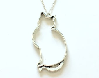 Large Cat Necklace, Hollow Kitty Silhouette Animal Jewelry, Silver Charm Pewter Pendant Birthday Gift Present Long Short 925 Chain Pet Tabby