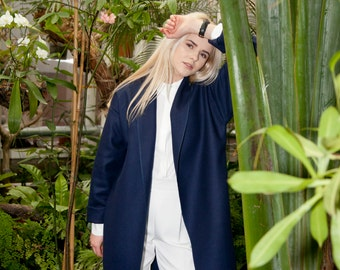 NEW! Navy Blue Wool Coat / Minimal Design Coat / Handmade Wool Coat / Wool Cardigan / Blue Coat / Oversize Spring Coat / Women's Coat
