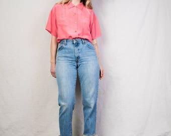 AMAZING Ruffle Hem LEVIS 550 Blue Denim Pants / S / worn out hipster mom jeans vintage 90s grunge denim perfect fit raw hem skinny pants