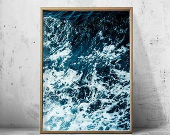 Ocean print, Ocean art Print Waves Sea Foam Water Minimalist Poster Blue Wall art Boho Home Decor Beach Coastal Art Scandinavian Printable