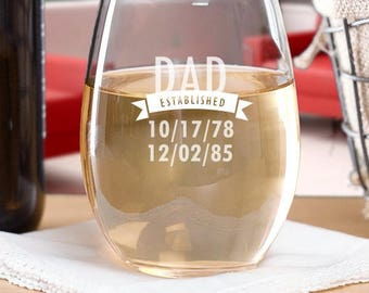 Engraved Established Stemless Wine Glass - Cachet Stemless Wine glass 21oz. - Mother's Day Gifts - Father's Day Gifts - Gift for Grandparent