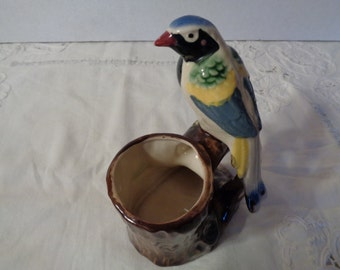 Unique Hand Painted Ceramic Bird Figurine - made in Japan