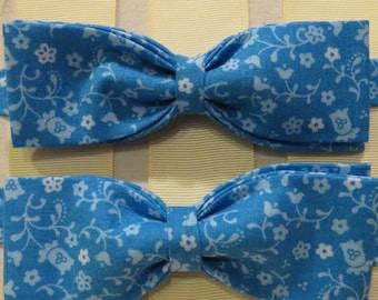 light blue White Flower Bow Tie