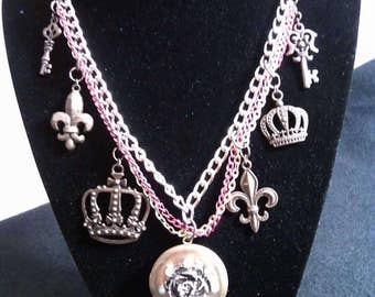 Rose Locket Necklace with Charms