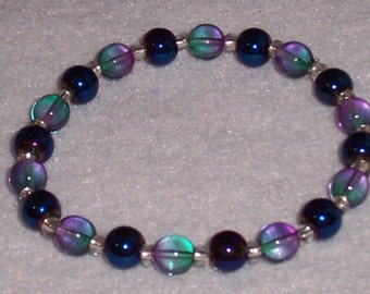 Dark Matallic Blue and Blue Shaded with Purple. Lovely Stretch Bracelet. Free Shipping