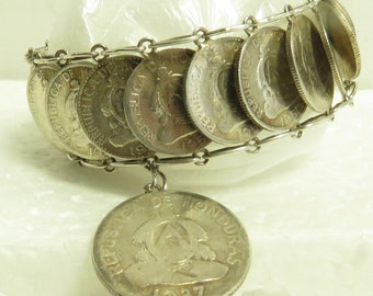 "Vintage Hand Crafted Honduras Silver Coin 6.5"" Bracelet."