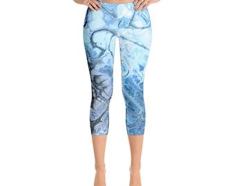 Capris - Mid Rise Marble Leggings, Aqua Blue Yoga Pants, Underwater Fractal Printed Tights, Digital Tye Dye Leggings